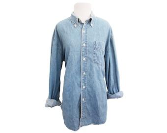 Vintage Chambray Denim Button Down Shirt Size Medium