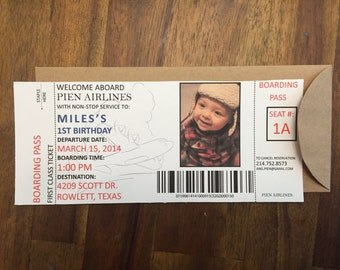 AIRPLANE BIRTHDAY-Boarding Pass style invitation with envelopes (Quantity 20)