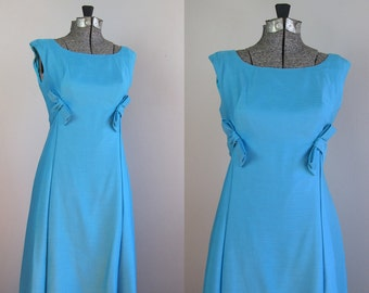 Vintage 1960s Emma Domb Gown. 60s Emma Domb Cerulean Blue Party Dress. Size Small