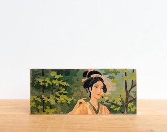 Paint by Number Art Block 'Geisha Girl' Horizontal - asian art, japan, geisha, japanese geisha, vintage art