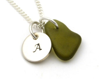 Personalized Sterling Silver Disc and Husk Sea Glass Necklace