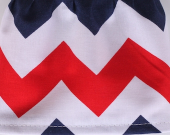 Red White Blue Chevron Fabric Cuff - Fancy Ruffled Rubber Gloves - Cleaning Gloves - Dishwashing Gloves