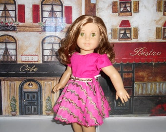 Doll clothes Bright pink belted dress fits 18 in dolls like American girl