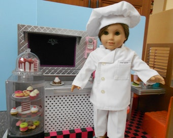 Doll clothes for 18 in doll like American Girl Chef's uniform Jacket, pants, hat  hand made in USA