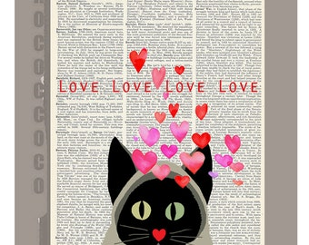 Love love love! Mixed media Animal painting illustration,Mothers day print- Love book print - Printed over vintage dictionary book page