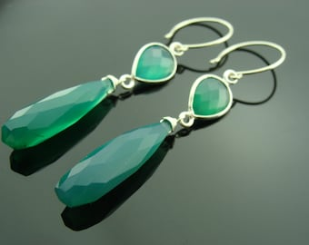 Long Green Onyx and Chalcedony Sterling Silver Earrings