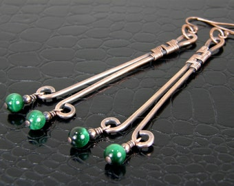 Long Hammered Copper Earrings Wire Wrapped and Antiqued, Long Copper Wire Earrings with Green Tiger Eye