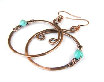 BOHO Turquoise & Copper Hoop Earrings, Antiqued Copper Wire Earrings, Hammered Copper Womens Earrings
