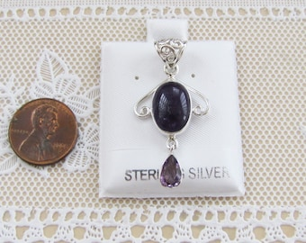 Ornate Amethyst Sterling Silver Pendant with drop jewel