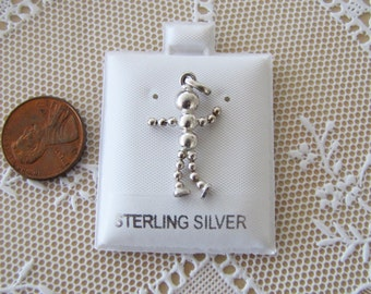 movable robot sterling silver pendant