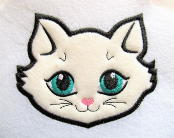 Kitty cat head face applique embroidery designs, cat applique, kitty head, cat face, pretty kitty 4x4, 5x5