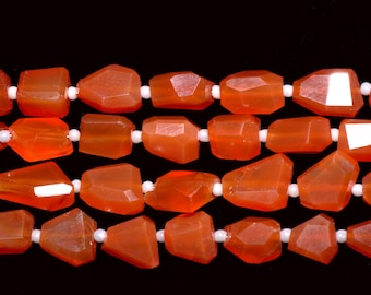 AAA Quality Carnelian Faceted Nuggets 10mm to 12mm,Sold as 14 inch Per Strands