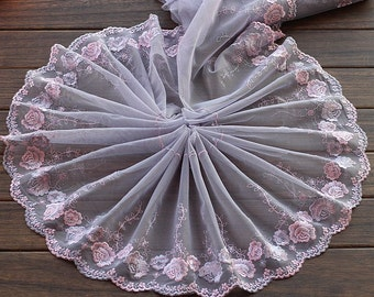 2 Yards Embroidered Lace Trim Rose Floral Embroidered Grey Tulle Lace Trim 8.26 Inches Wide
