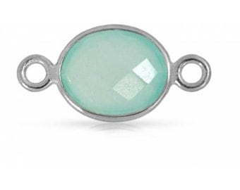 Aqua Chalcedony Gemstone Oval Bezel Connector  Sterling Silver 10x8mm - 1pc (7874) Good Quality Wholesale price