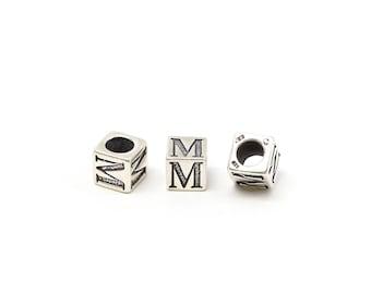 Alphabet Beads Sterling Silver 6mm Alphabet Blocks M - 1pc (3206)/1