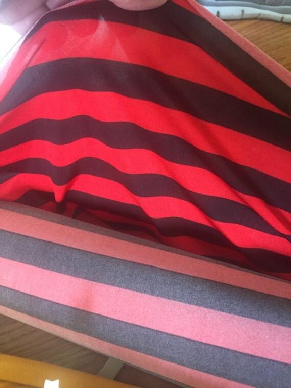 Red and Black Stripe (per yard) - Polyester/Lycra - 3/4 inch stripe