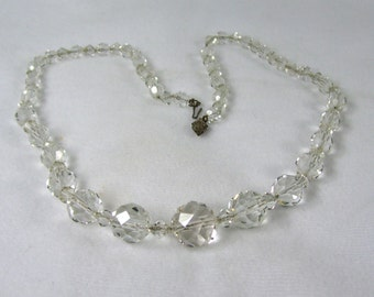 Vintage Necklace Single Strand Clear Round Crystal Glass Faceted Beads on Delicate Silver Chain