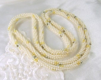 """Vintage Beaded Rope Necklace White Faux Pearl Beads Blue Yellow Gold Tone Infinity 54"""" Flapper Length"""