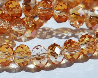 12 pcs 10x8mm Transparent Persimmon Orange Gold AB Faceted Crystals