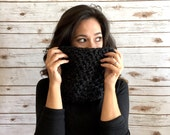 Charcoal Neck Cozy, Dark Grey Neck Warmer, Muffler