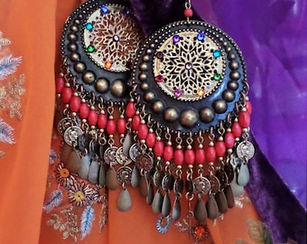 Lightweight! Huge Exotic Moroccan Earrings, Turquoise, Bohemian Bronze Gypsy Hoops, Coins, Wood, Swarovski Rainbow Chakra Mandala, Red