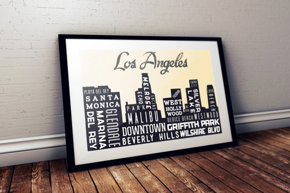 Los Angeles Art Poster - LA Poster - California Poster Print - Los Angeles Map - Gift for housewarming party