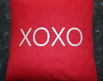 Monogrammed Outdoor Pillow Cover in Cherry Red - XOXO
