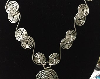 Silver wire wrapped spiral necklace, bridal, mother's day, wire wrapped jewelry, wire wrapped pendant