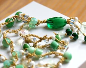 Green beach crochet necklace, Shabby chic boho, bohemian jewelry, summer, beach, trendy, green, gold, white, fresh, OOAK, SALE