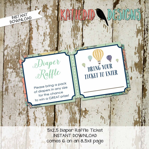 Diaper raffle ticket INSTANT DOWNLOAD item 1466 insert enclosure card shower diapers world map vintage hot air balloons adventure awaits