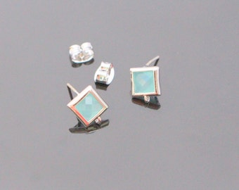 Silver Mint Crystal Square Stone Earrings, Light Blue Earrings Findings, Small Square Studs, Posts, 2 pc, KY21925