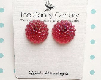 70's Vintage Pink Sparkle Button Earrings