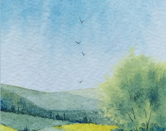 Original ACEO watercolor painting - Patched valley