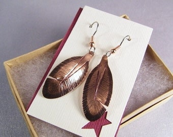Copper Feather Earrings SHIPS IMMEDIATELY Handmade Handcut Hammered Copper Feathers Copper Birthday Gifts for Her Copper Anniversary Gifts