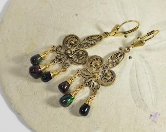Black Opal Earrings Wire Wrapped Handmade Earrings 14K Gold Filled Jewelry Gemstone Earrings