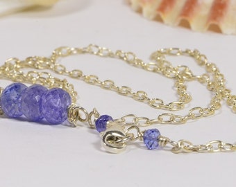 Tanzanite Necklace Bar Necklace Tanzanite Jewelry Handmade Jewelry Gemstone Bar Necklace Gold wire wrapped necklace
