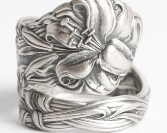 Stargazer Lily Ring, Sterling Silver Spoon Ring, Lovely Frontenac, Engraved S, Sunburst Lily, Handmade Gift, Personalized Ring Size (6068)