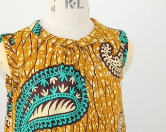 Mustard and turquoise paisley African Print girl's dress