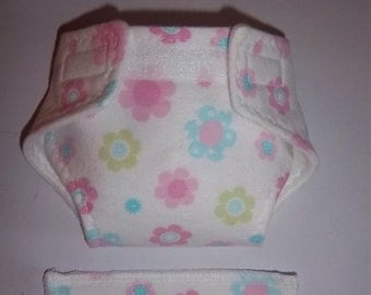 Baby Doll Diaper/wipe - pink, turquoise, apple green multi designed flowers - adjustable for many dolls such as bitty baby