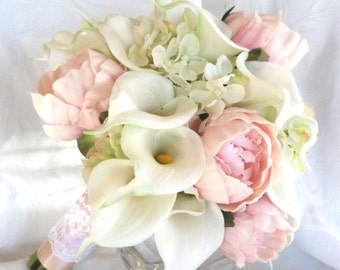 Real touch Calla lily and peony bridal bouquet with silk hydrangea