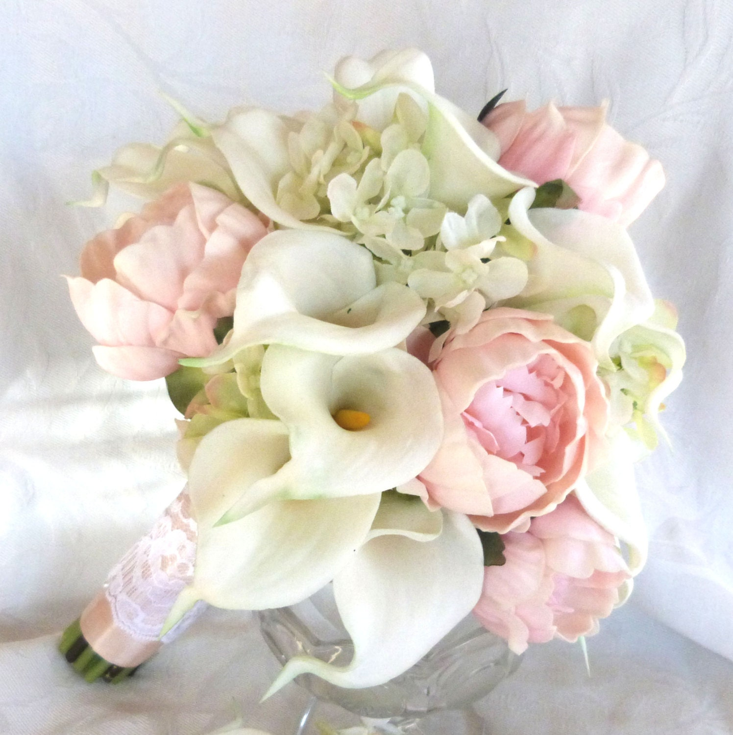 Real touch Calla lily and peony bridal bouquet with silk