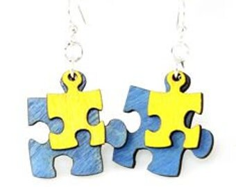 Puzzle Piece Wood Earrings