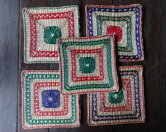 Vintage French trivet coaster holder woven placemat protector set of 5 circa 1970's / English Shop