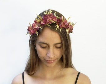 Ruby Red Velvet, Gold Leaf Crown, Flower Crown, Renaissance, Gold Crown, Crown, Floral Headpiece, Goddess Costume, Fairy Costume, Nymph, Fae