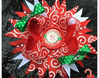 Christmas Swirl Damask Personalized Initial Boutique Hairbow