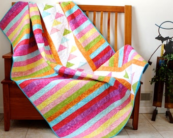 Modern Patchwork Lap Quilt Spring Colors Chic Bright Colors