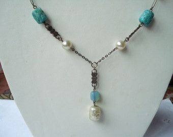 Art Deco Necklace  Turquoise Glass and Faux Pearl 1920's 1930's