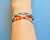 Turquoise & Coral Color CUFF Bracelet, Native Inspired Memory Wire, Stackable Hand Made in The USA, Item No. De130