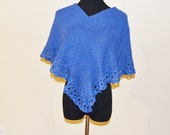 Denim Blue Poncho/Cape, Knitted and Crochet Edges, Hand Made in the U S A, Winter Sale
