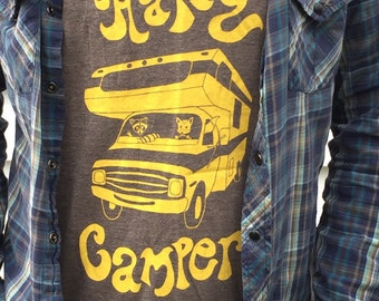 Screenprinted Happy Camper unisex taupe tanktop, original artwork, dodge RV, Made in America